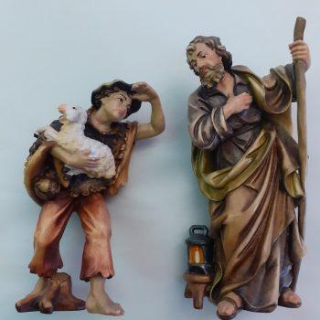 Statuina in legno pastore con agnello e cappello