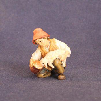 """Statuina del presepe tradizionale """"bambino con agnello"""""""