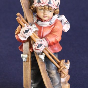 Scultura in legno bambino con sci dipinta a mano