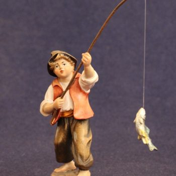 Bambino pescatore Statuina in legno del presepe