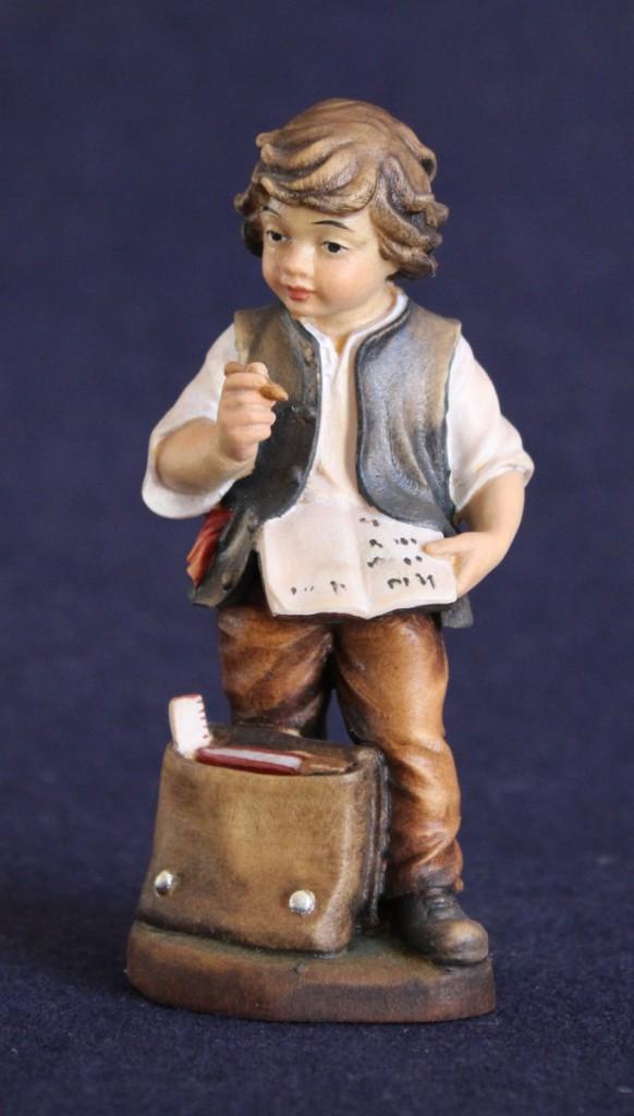 Scultura legno bambino scolaro