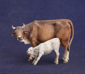 """Statuina presepe """"Mucca con vitellino"""" versione dipinta"""