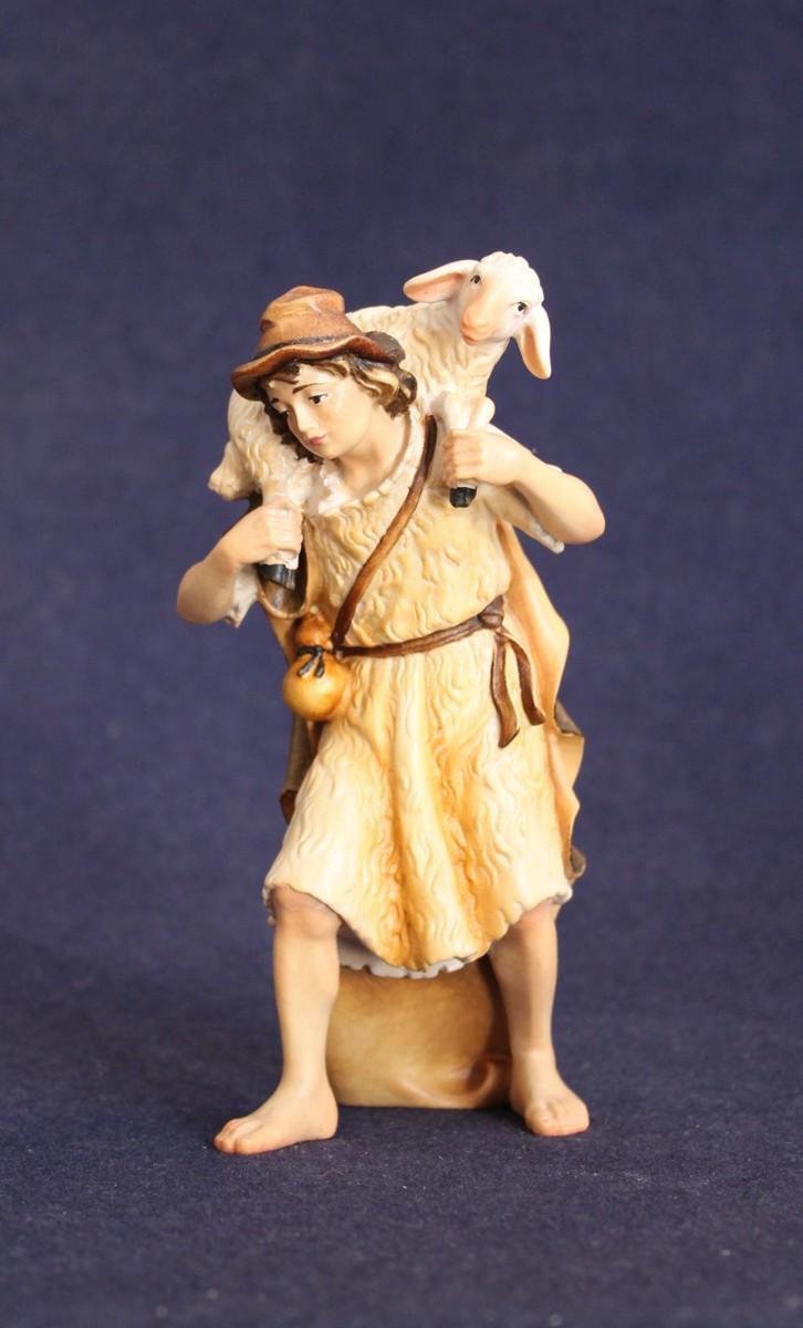 Statuina presepe del pastore con agnello in spalla