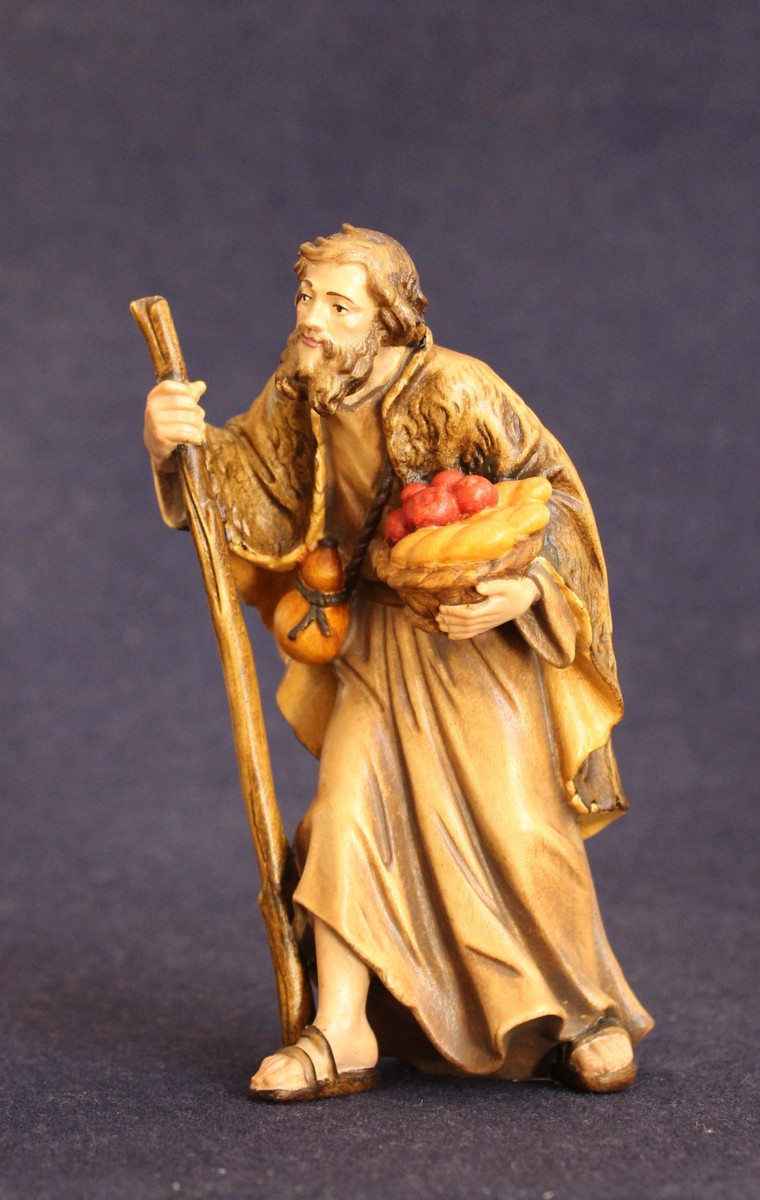pastore con frutta e bastone - statuina presepe