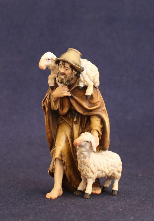 Scultura in legno: pastore con pecora,agnello e cappello