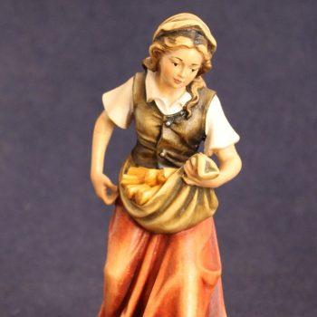 """Statuina per il presepe """"pastorella con legna"""""""