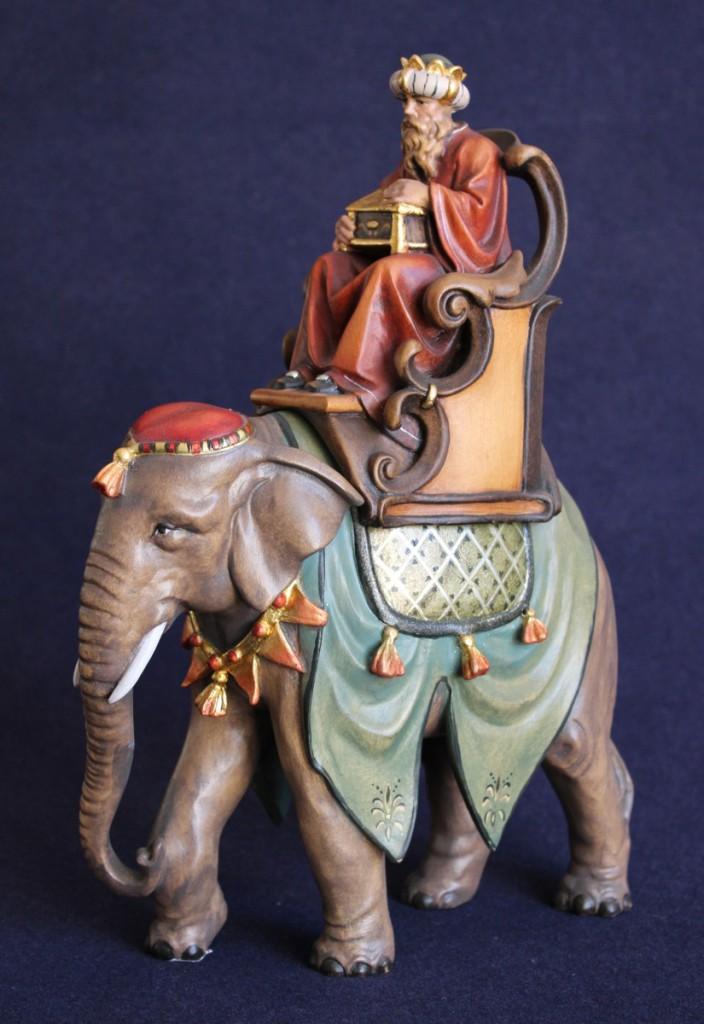 statuina presepe re magio su elefante