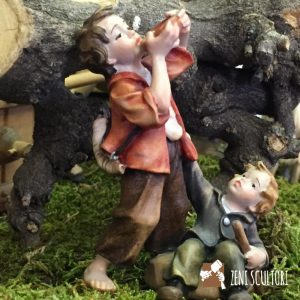 Statuina presepe tradizionale, coppia di bambini al pozzo