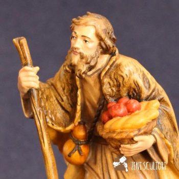 Statuina del presepe pastore con frutta