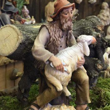 """""""Il pastore tosatore"""" statuina presepe tradizionale in legno - Versione dipinta"""