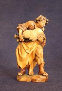 """Statuina del presepe """"zampognaro in piedi"""" scolpita in legno e dipinta a mano"""