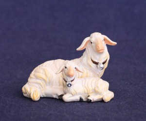 Sheep lying down with lamb
