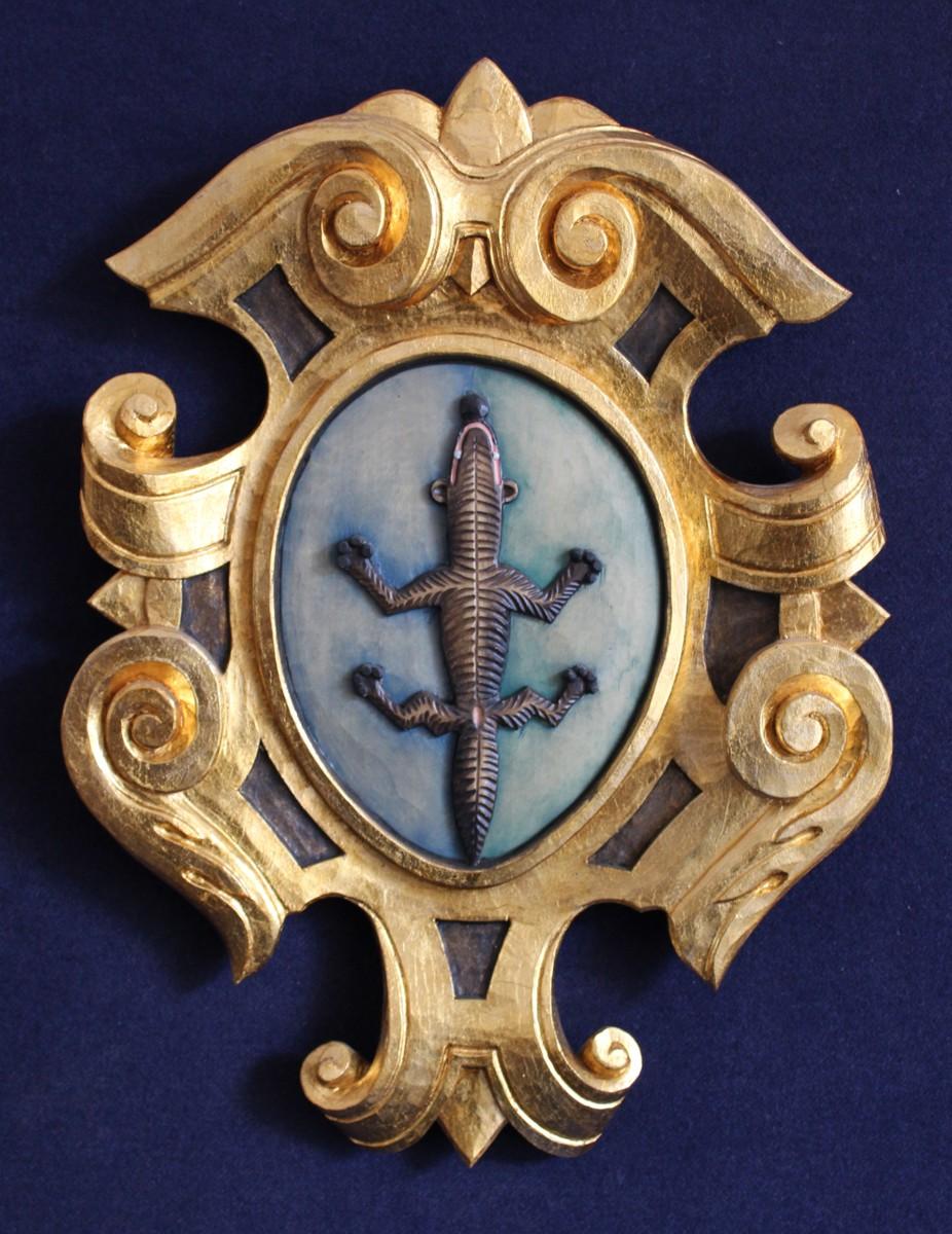 Scultura personalizzata in legno con stemma valle di Primiero