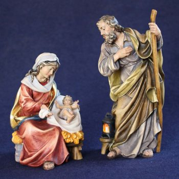 Statuine presepe sacra famiglia scolpite in legno