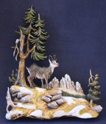 Pierced relief of a chamois