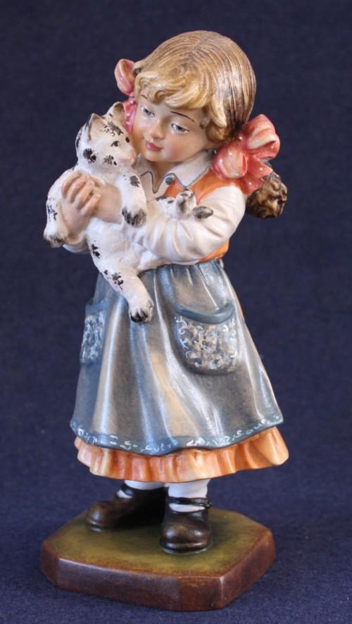 Statuina in legno Bambina con gatto in braccio
