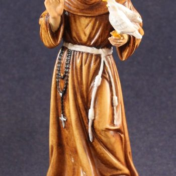 Saint Francis of Assisi statue painted in wood