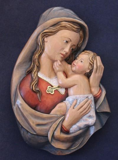 Statua in legno Madonna rilievo S.