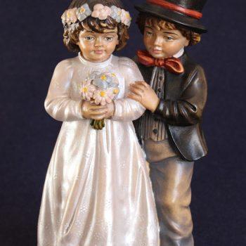 Scultura in legno bambini sposi