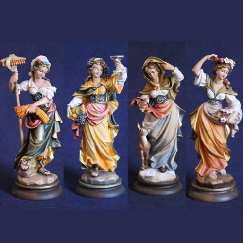 4 stagioni scolpite in legno e dipinte a mano