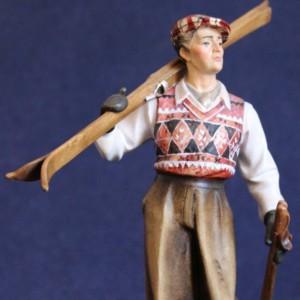 Sciatore anni 50 scolpito in legno