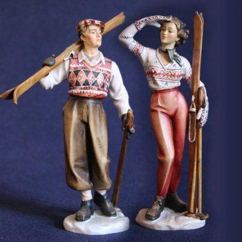Sciatori anni 50 scolpiti in legno