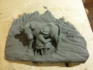 Bozzetto di plastilina preparatorio per la scultura in legno