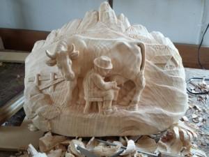 Scultura agreste in legno di cirmolo