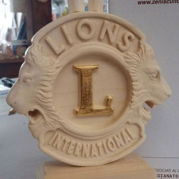 Wooden lions trophy detail